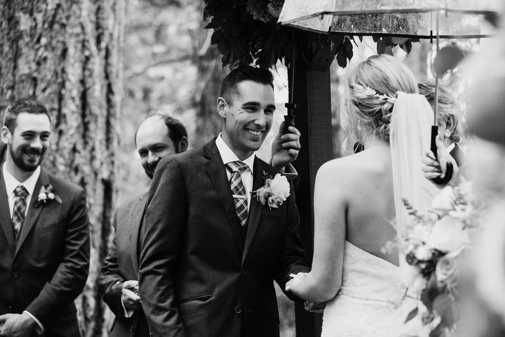 Groom recites vows to bride Miracle Beach Courtenay Comox wedding photographer