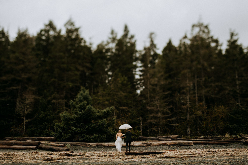 bride and groom in forest Miracle Beach Comox Wedding Photographer