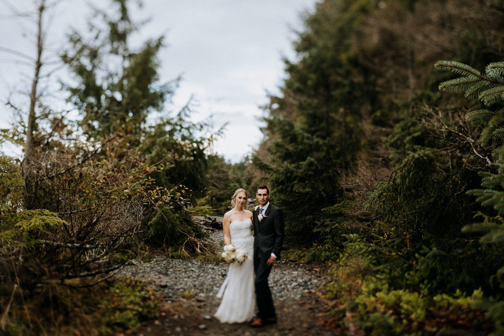 bride and groom forest Miracle Beach Comox Wedding Photographer