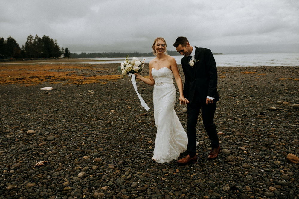 married couple on Miracle Beach Comox Wedding Photographer
