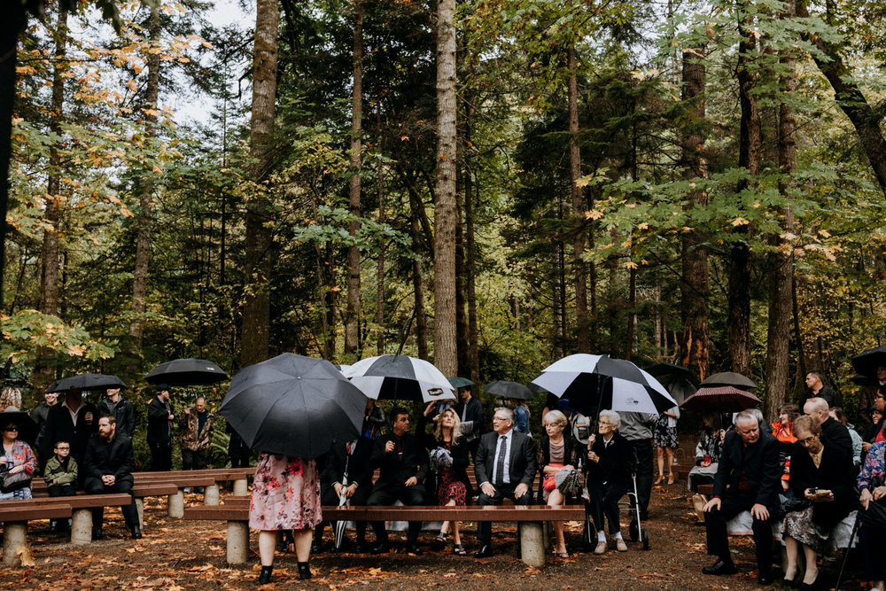 rainy ceremony Miracle Beach Comox Courtenay wedding photographer