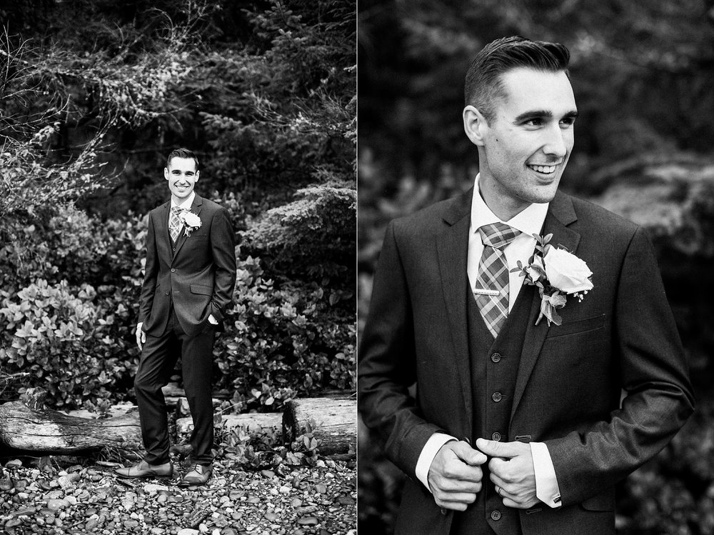 groom grey suit Miracle Beach Comox Wedding Photographer