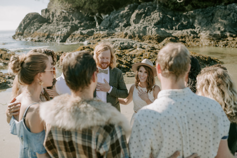 This is a photo from my own wedding, with eight of our closest friends, on a beach in Tofino. Photo by Kristen Marie Parker