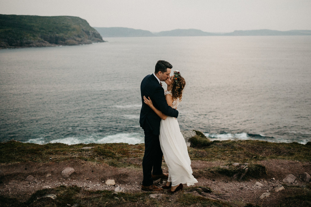 Canadian Elopement Photographer - Newfoundland Cape Spear first kiss