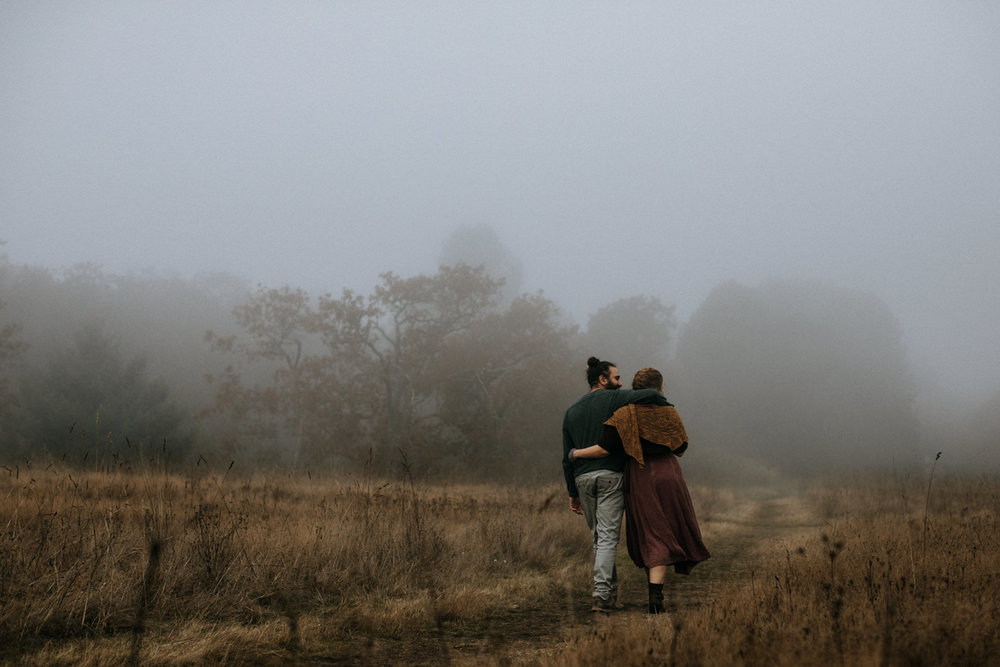 Couple in fog at Beacon Hill Park - Vancouver Island Elopement Photographer