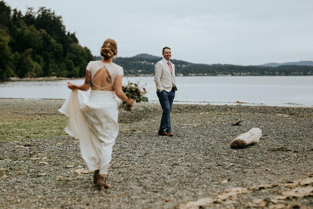 first look on beach victoria wedding photographer