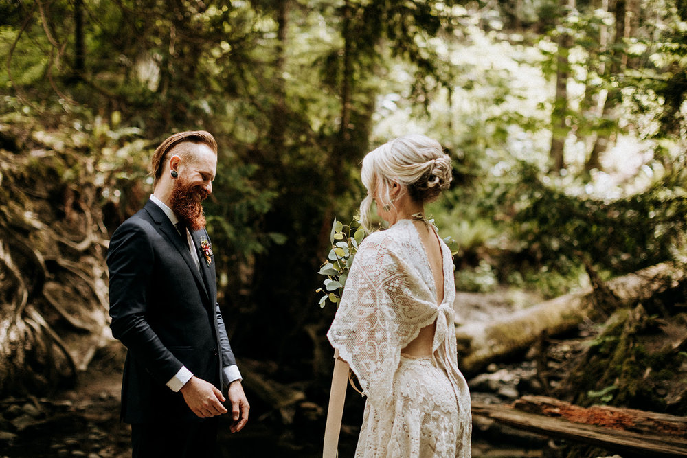 first look in forest, Victoria intimate wedding photographer
