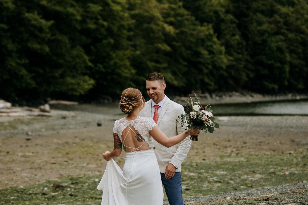 first look Mount Doug, Victoria intimate wedding photographer