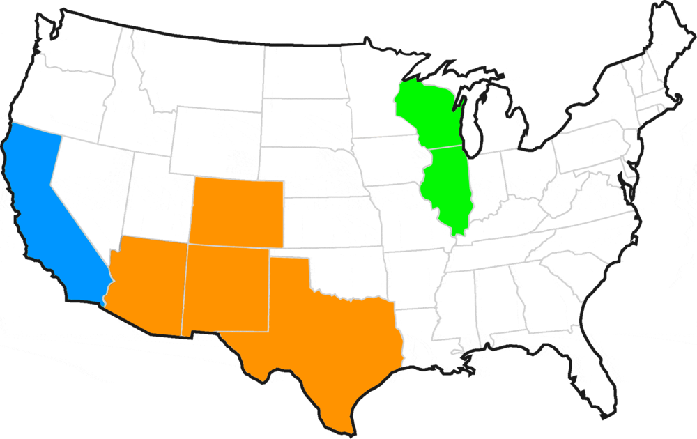 Licenses: AZ, NM, TX, CO (Current), IL & WI (Varies), CA (Pending)