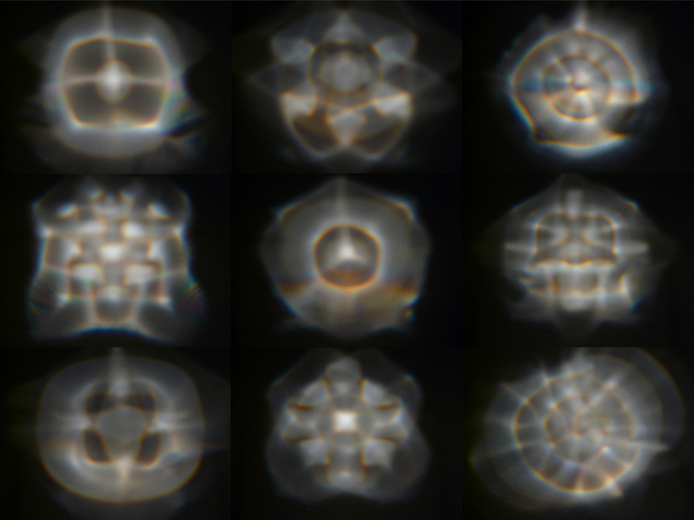 Projections of a vibrating soap film showing different normal modes