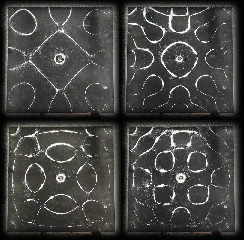 Sand showing four different normal modes on a vibrating Chladni plates