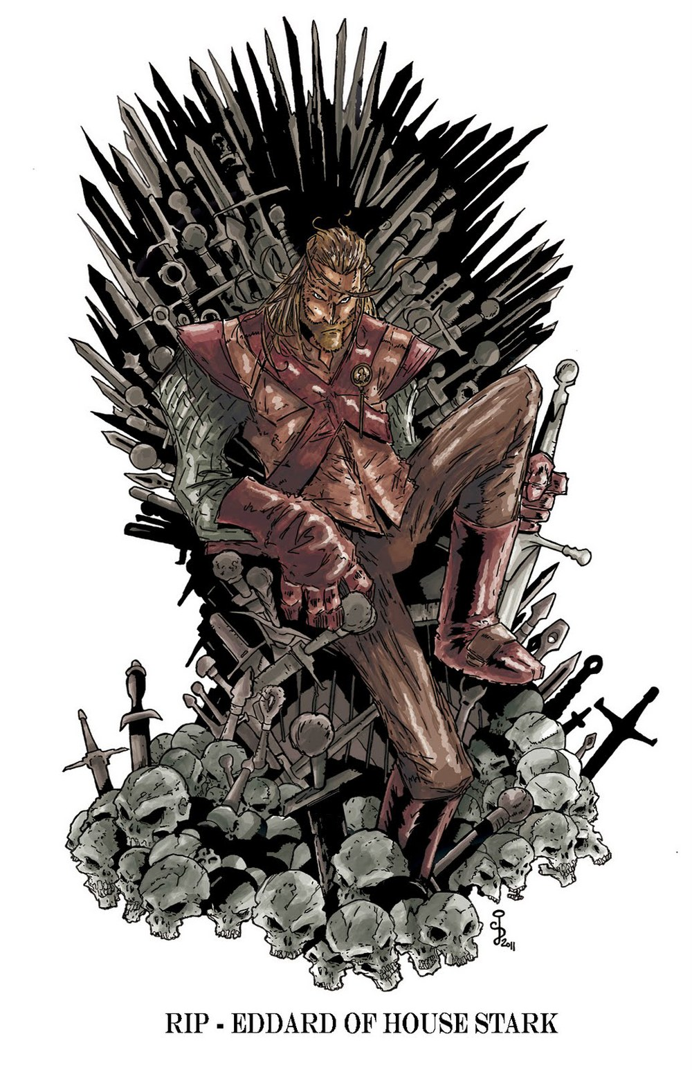 Fan art ned on the iron throne making game of thrones for Iron throne painting