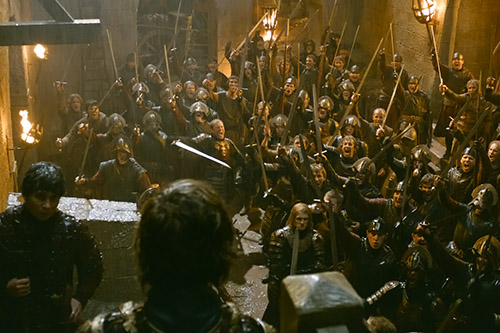 Tyrion rallies the troops at the Battle of the Blackwater.