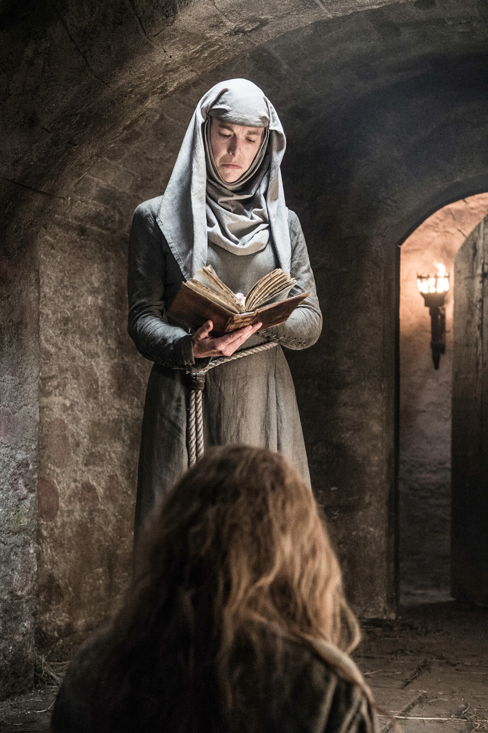 Natalie Dormer as Margaery Tyrell and Hannah Waddingham as Septa Unella
