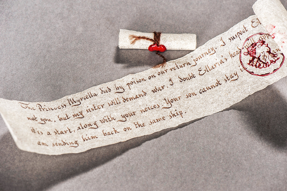 The letter Prince Doran receives, informing him of Myrcella's death.