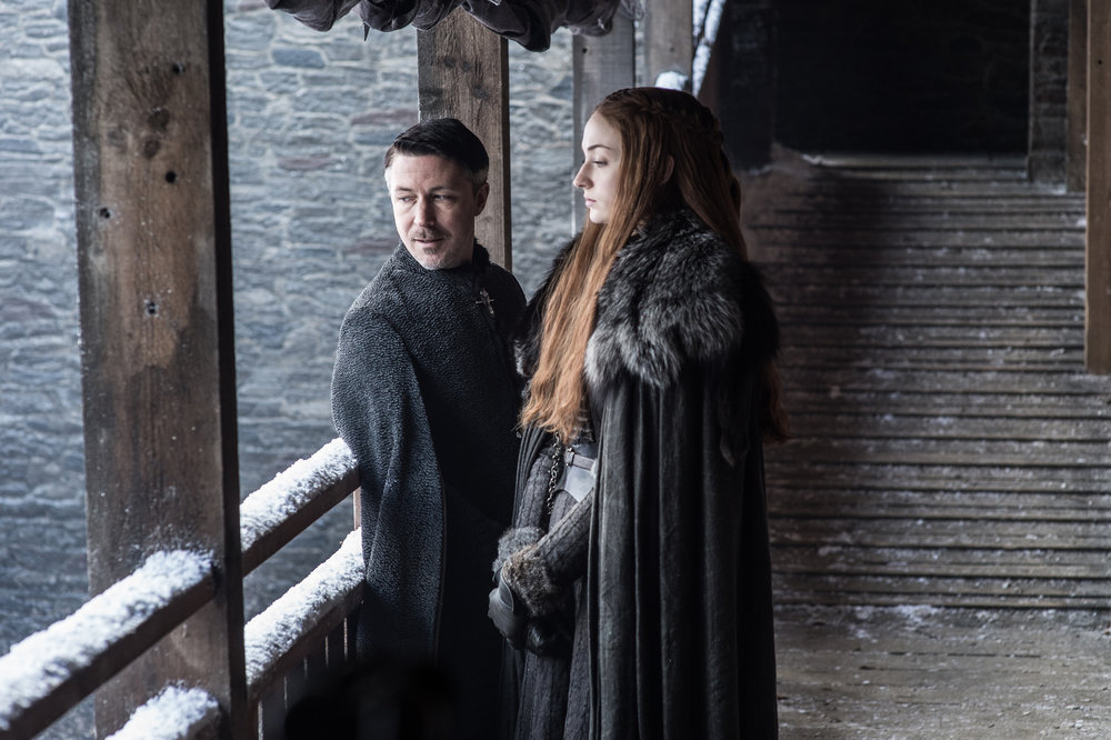 "Aidan Gillen  as Petyr ""Littlefinger"" Baelish and  Sophie Turner  as Sansa Stark -  Photo: Helen Sloan/HBO"