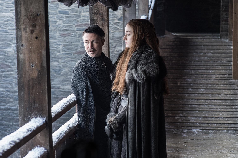 "Aidan Gillen as Petyr ""Littlefinger"" Baelish and Sophie Turner as Sansa Stark - Photo: Helen Sloan/HBO"