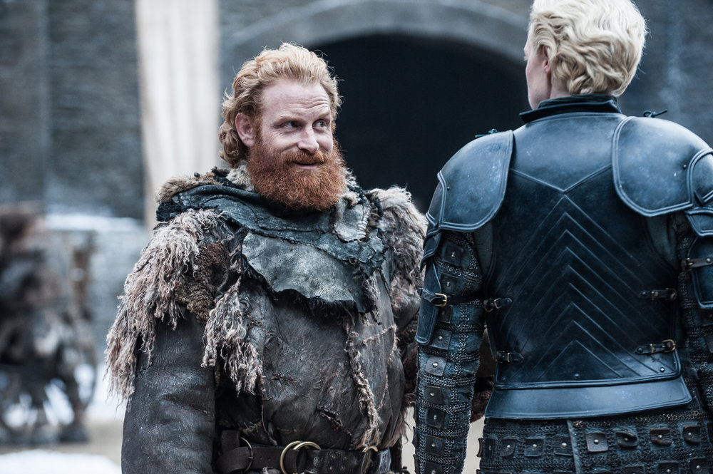 Kristofer Hivju  as Tormund Giantsbane and  Gwendoline Christie  as Brienne of Tarth -  Photo: Helen Sloan/HBO