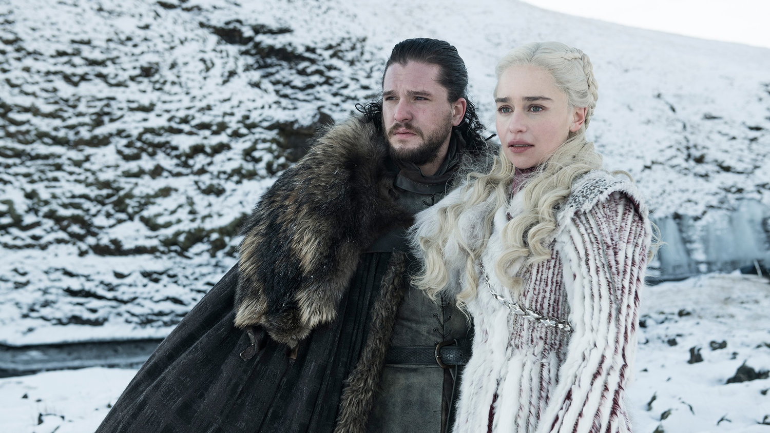 Kit Harington as Jon Snow and Emilia Clarke as Daenerys Targaryen – Photo: Helen Sloan/HBO