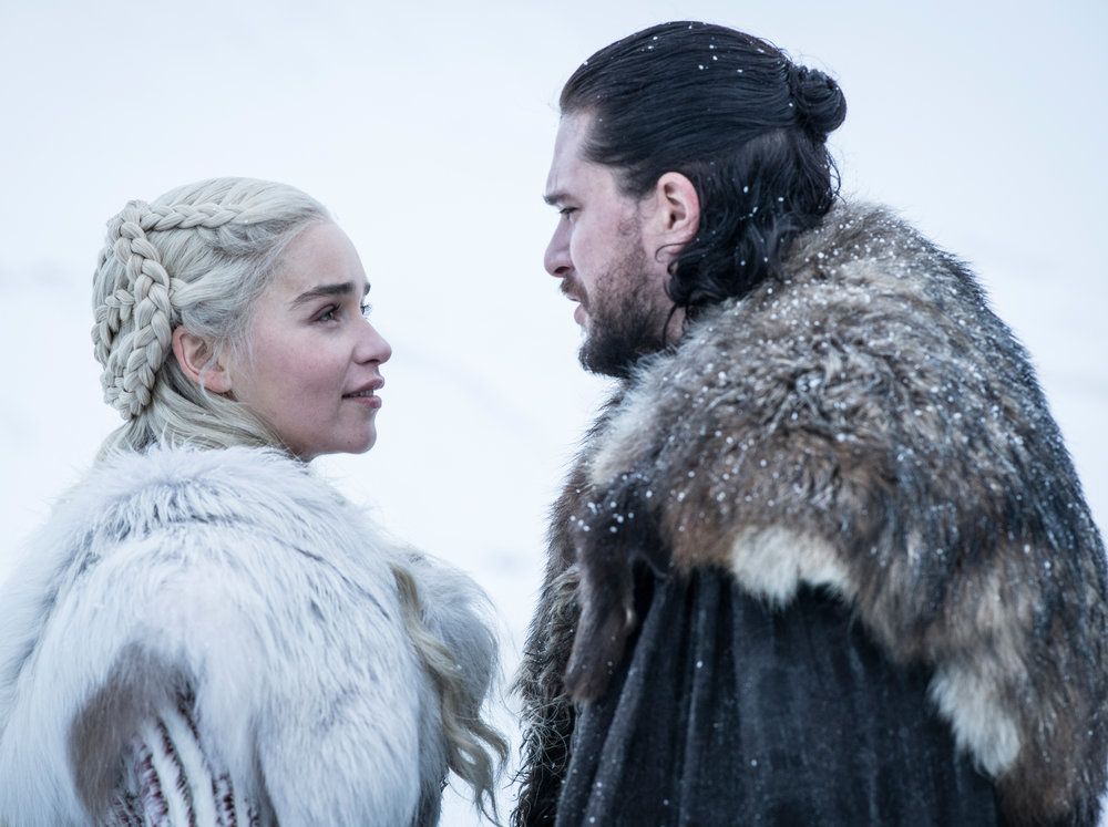 Emilia Clarke as Daenerys Targaryen and Kit Harington as Jon Snow – Photo: Helen Sloan/HBO