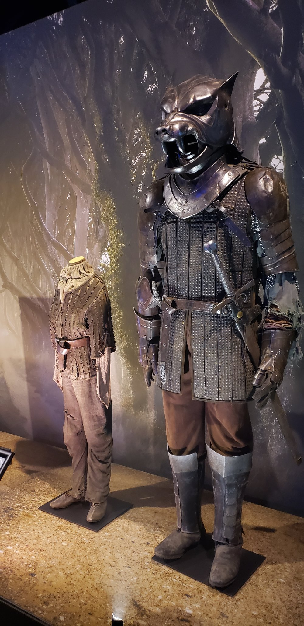 The Hound's armor and Arya Stark's costume
