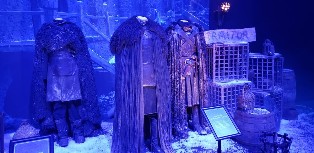 Night's Watch costumes, including Jon Snow's and Alliser Thorne