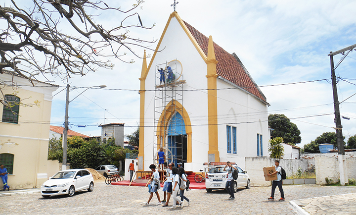 The location of Our Lady of Mercy Church     is very public, with students, locals and tourist passing by.