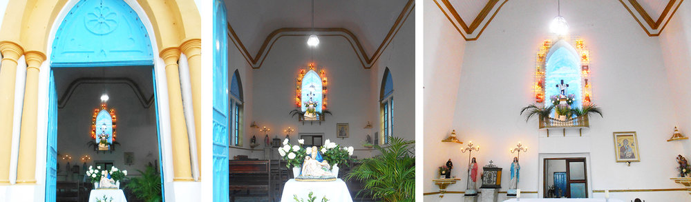 A new arrangement of fresh flowers, palms inside the church.