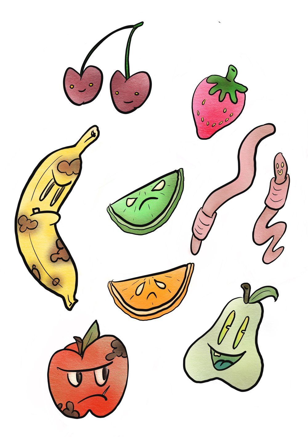 Bad Fruits Sticker Set
