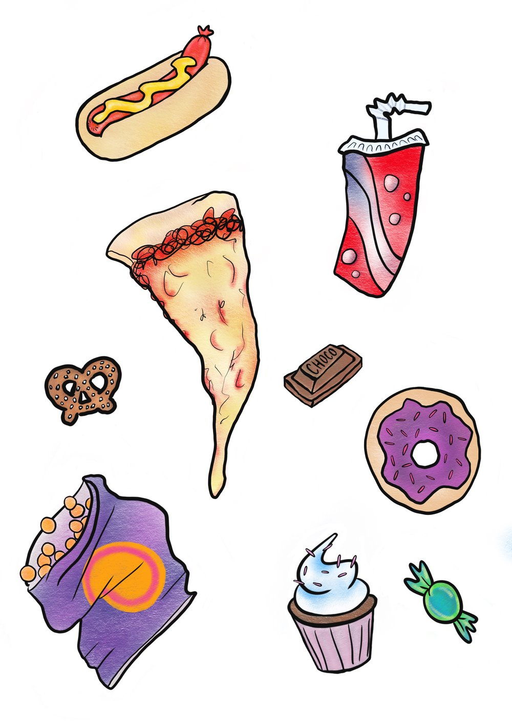 Junk Food Sticker Set