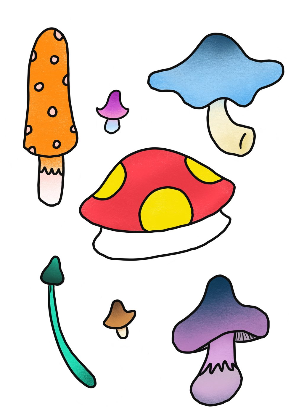 Magic Mushrooms Sticker Set