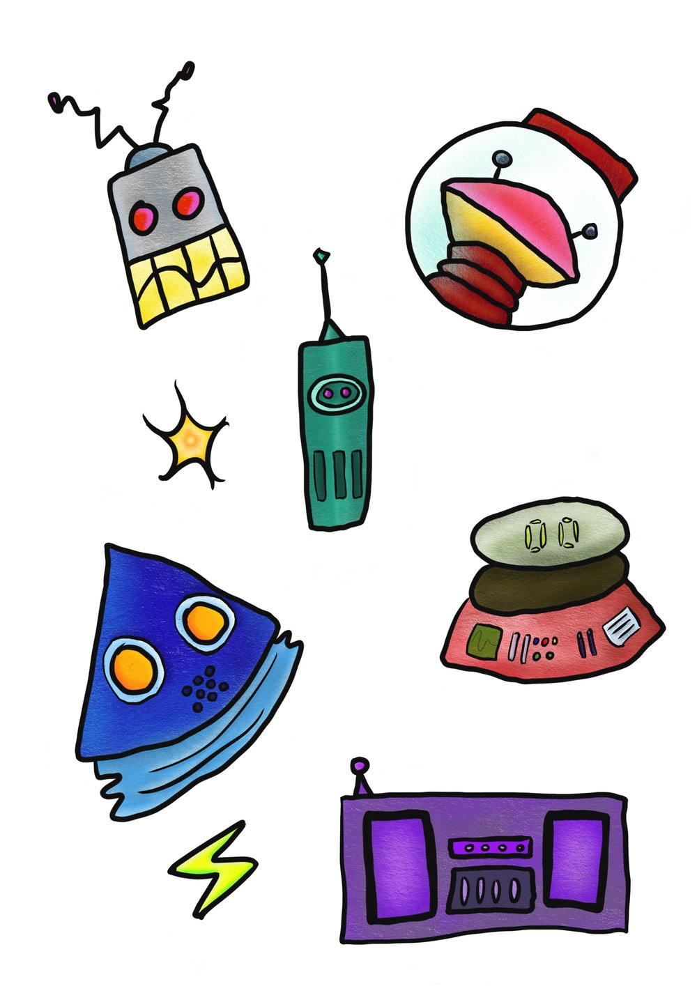 Electro Space Bots Sticker Set