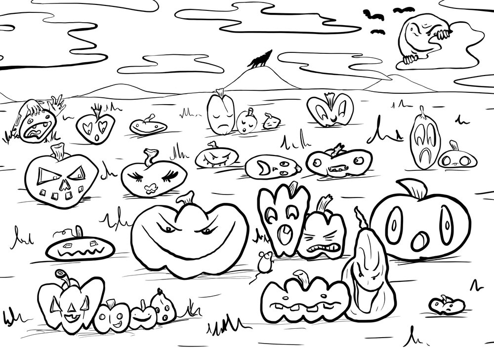 Spread for printed Halloween Coloring Book Zine. Collaborative project with The Crybaby Collective. 2016