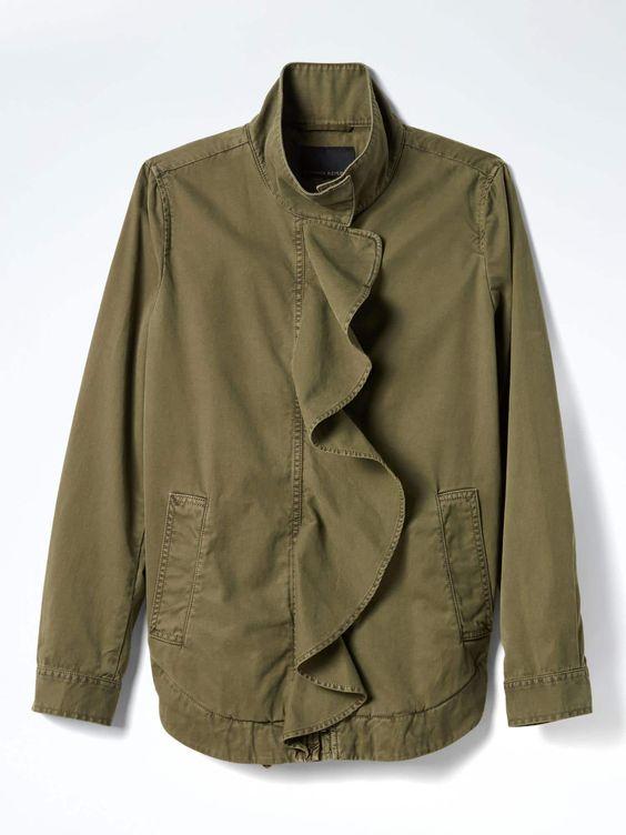 Banana Republic Ruffle Front Military Jacket