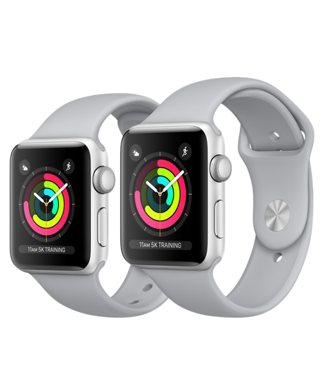 38 mm Apple Watch Series 3 Silver Aluminum Case with Fog Sports Band