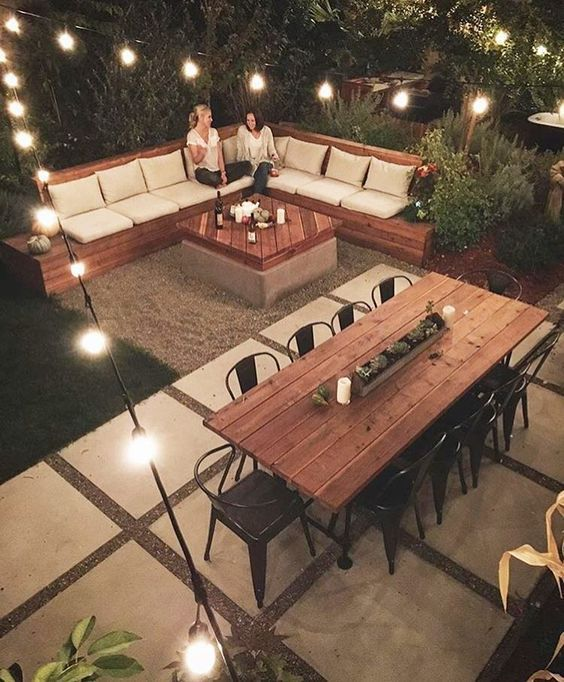 Outdoor living and dining with natural wood tones