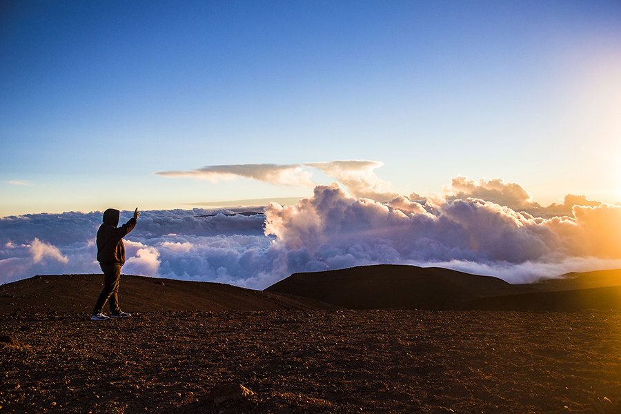 My husband Jason on the summit of Mauna Kea volcano, December 2013.