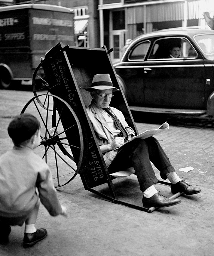 Man in Pushcart, 1944