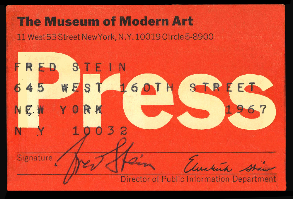 Fred press card, MOMA 1967.jpg