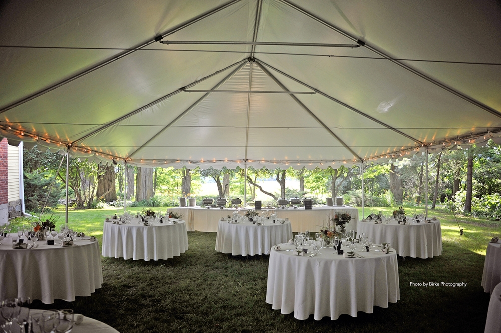 the traditional frame tent is built with a structural aluminum frame and joined by steel fittings that are used to support the vinyl fabric roof