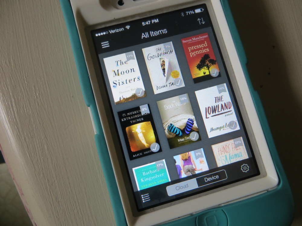 My Kindle app. There is an entire bookshelf's worth of books on there and they weigh  nothing !