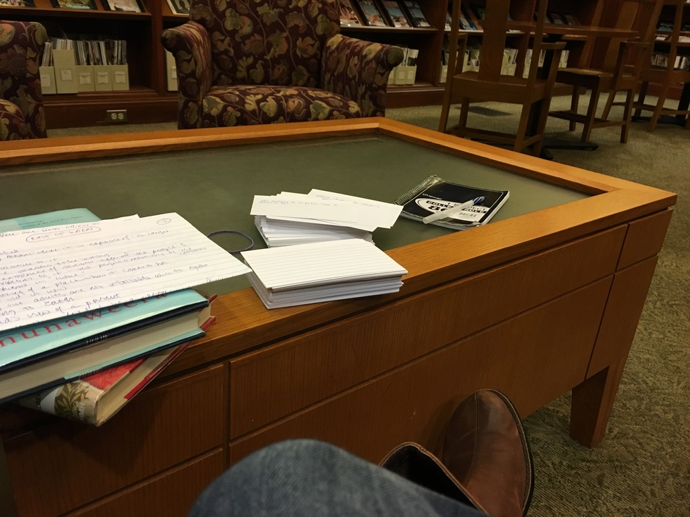 Plotting away at my library. I use a multitude of index cards.
