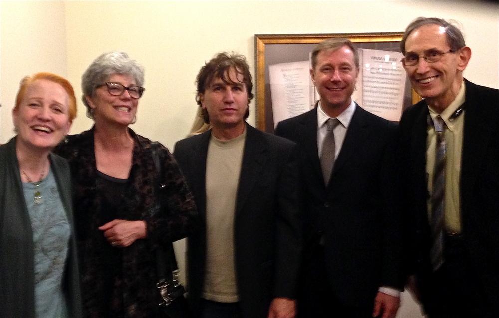 (l-r) Margaret, Melinda Wagner, Matthew Halper, Don, Frank Ezra Levy at the reception