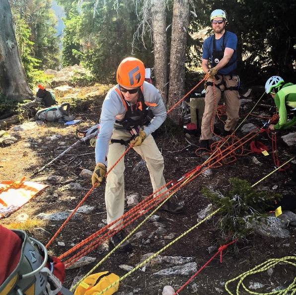 Don high angle training with SAR at Jackson Hole Mountain Resort.
