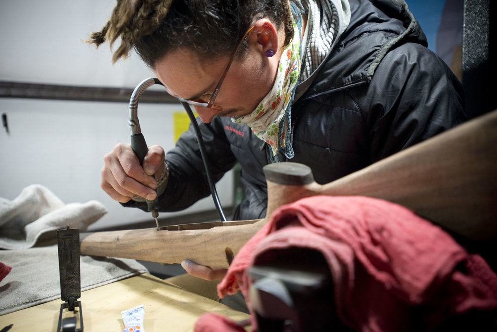 Ryan working on a custom gunstock.