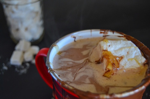 Paleo, dairy-free caramel hot-chocolate with homemade marshmallows
