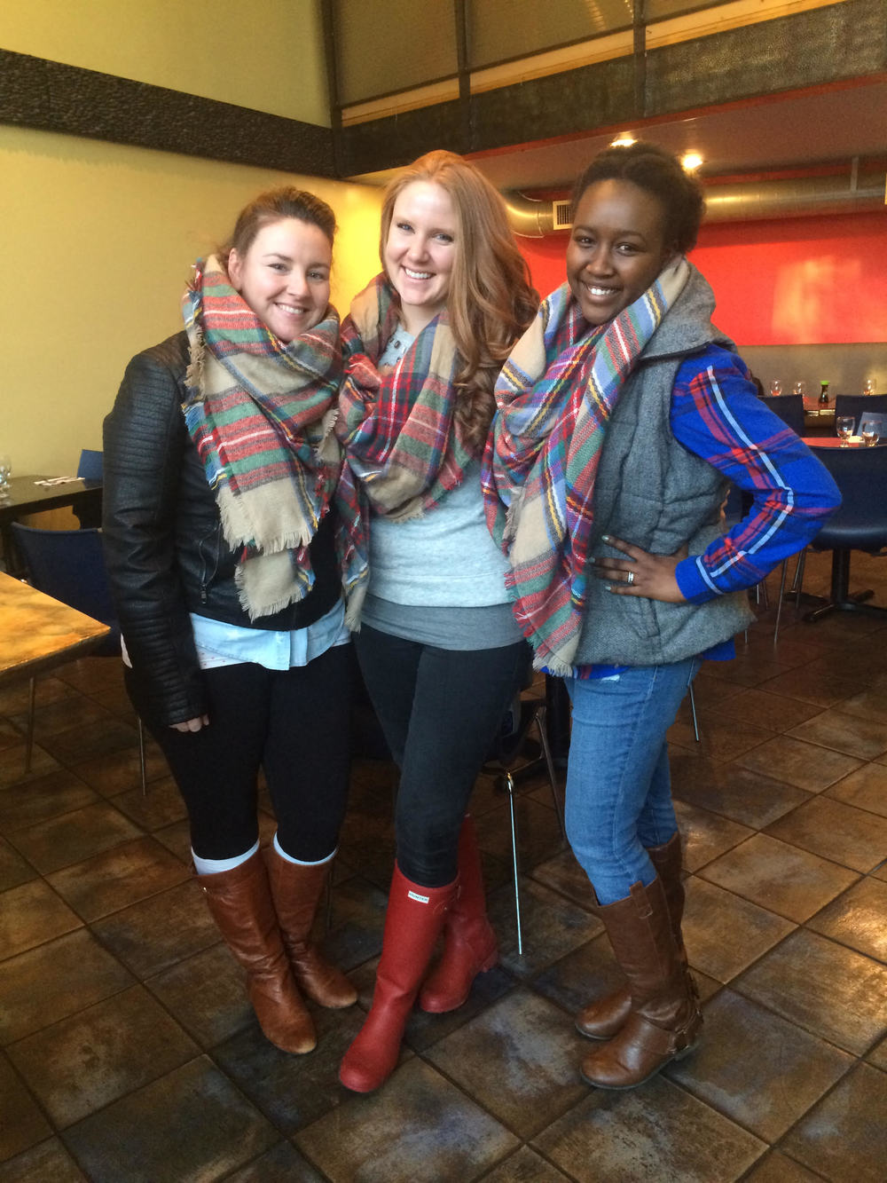 From L to R: Dianne, me, and Sandra in our matching blanket scarves, that was totally unplanned. I love these girls so much.