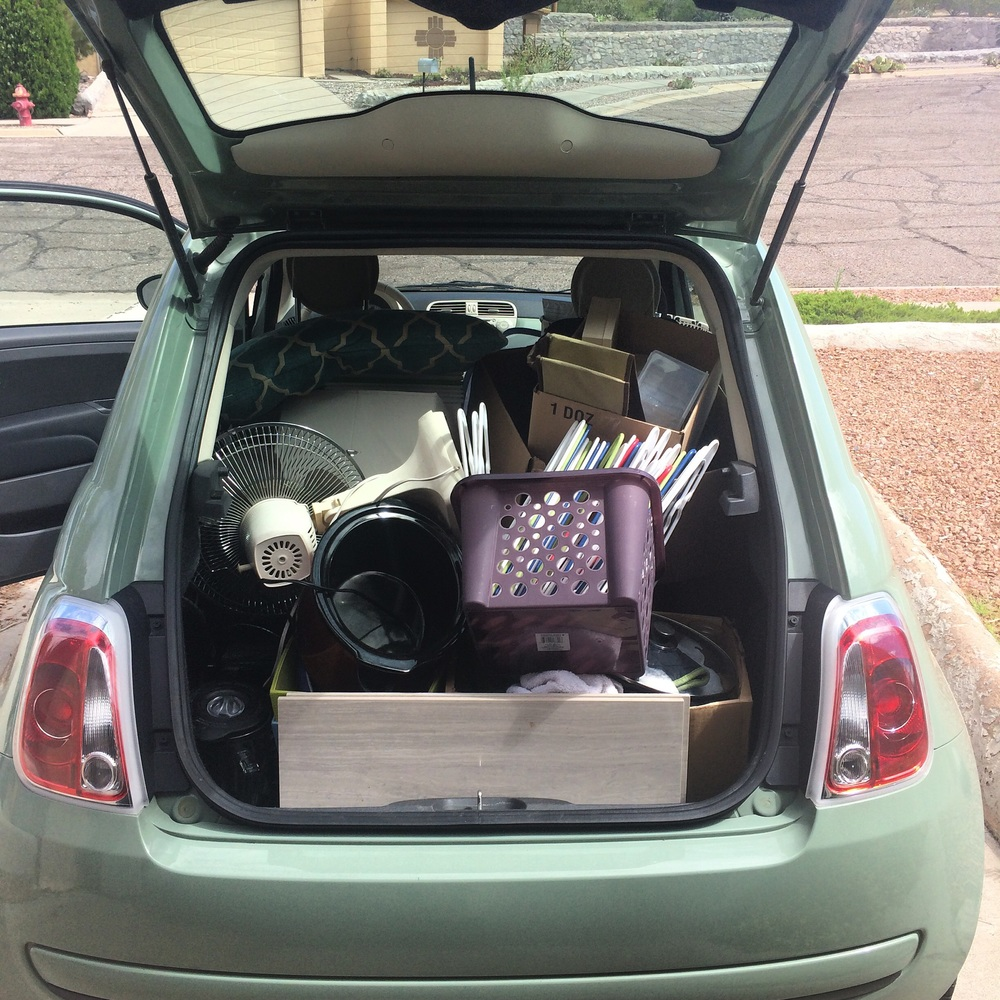 We must have taken at least 5 fiat-loads of stuff to be donated, and that doesn't even include things we sold on Craigslist and the loads of stuff we took in the roomier Pilot.