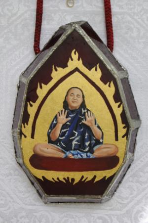 Bhagavan Adi Da with Gold Flames , jewelry pendant, by Io Free Jones, age 14