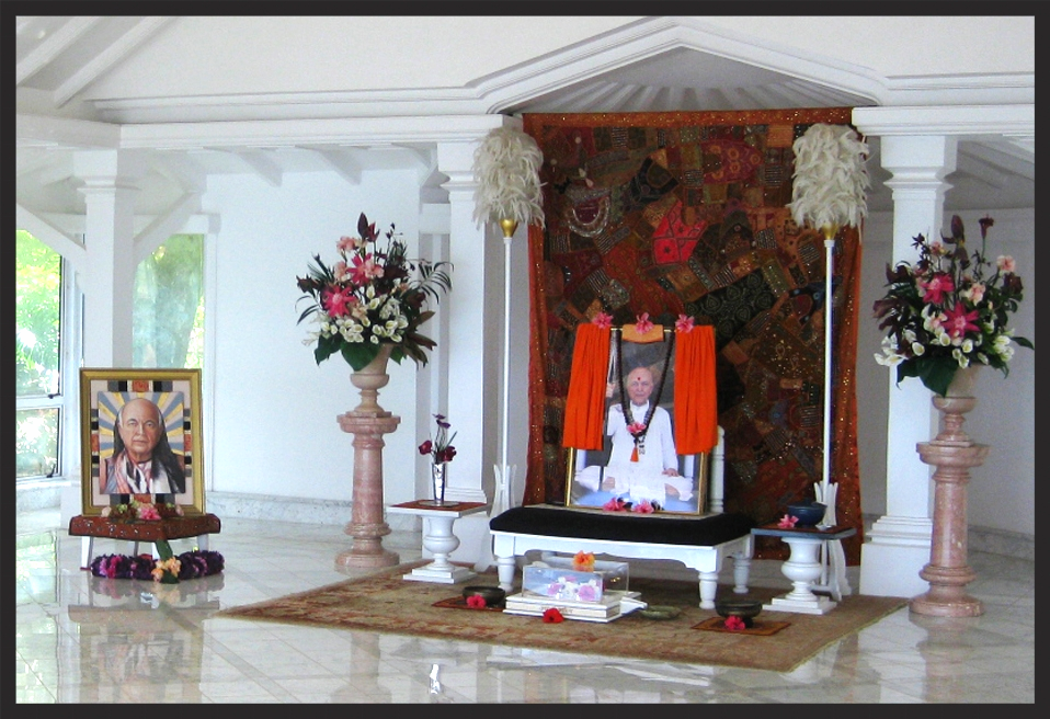 Io Free Jones' portrait,  Bhagavan Adi Da in Dusty Rose  (left), placed in the Temple at Samraj Mahal, Adi Da Samrajashram, Naitauba Island, Fiji
